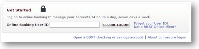 Bb&t bank login page
