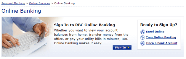 RBC Sign In - Screenshot of RBC bank website www.rbcroyalbank.com