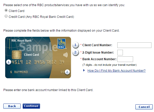 Sign up to RBC Credit Card - Screenshot of RBC bank website www.rbcroyalbank.com