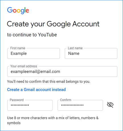 Create new account on YouTube