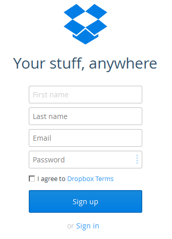 Create login DropBox