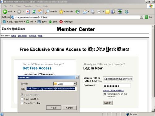 Saving NYTimes login and password to sign in to Nytimes account automatically