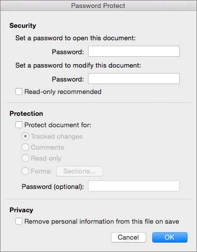 Password protect in word for mac