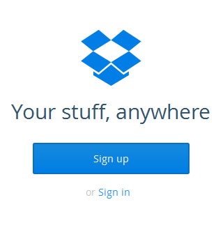 Sign up DropBox