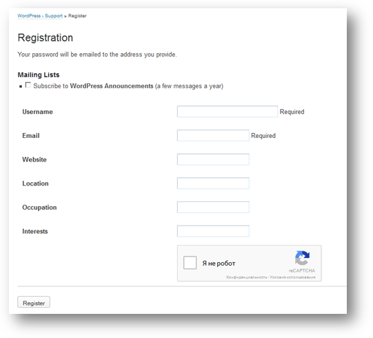 Wordpress login register
